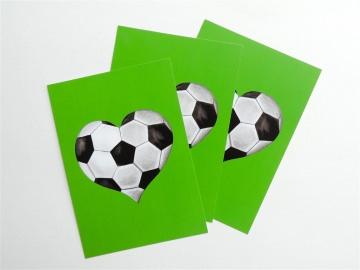 Fussball Postkarten ☆ Fussball Herz ☆ Postkarten für Postcrossing,