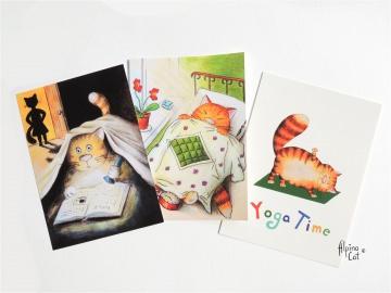 Rote Katze Postkarten, Postkarten Set aus 3 Postkarten, 10.5 x 14.8 cm, 350 g/m²