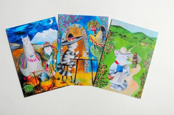 Katzen Postkarten Set, Katze geht auf Weltreise, 6 Postkarten im Set