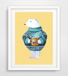Bären Poster, Eisbär mit einer Tasse Tee, Eisbär Bild, Digitaldruck A4, 250g/m2 Qualitätsdruck