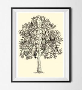 Eulen Poster ☆ Eulen Baum Bild, Digitaldruck A4, 300 g/m2 Qualitätsdruck