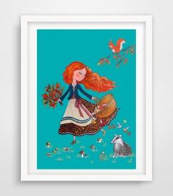 Mädchen im Wald ☀ Herbstbild ☀ Digitaldruck A4, 300 g/m2 Qualitätsdruck