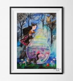 Hexe und die Katze ★ Digitaldruck A4 ★ 300 g/m2 Qualitätsdruck