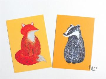 Waldtiere Postkarten Set  ☆  4 Postkarten im Set, Fuchs und Dachs Postkarten