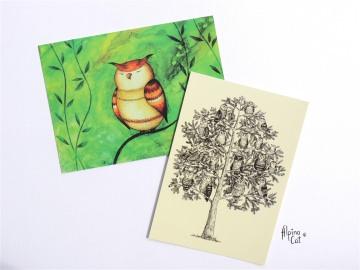 Eulen Postkarten Set ☆ 4 Postkarten im Set