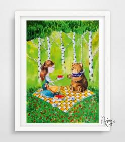 Mädchen und Bär Bild, Digitaldruck A4, 300 g/m2 Qualitätsdruck