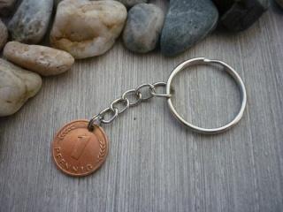 handgemachter Schlüsselanhänger mit 'Glückspfennig'