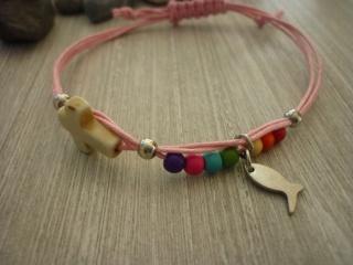 buntes handgearbeitetes Armband zur Kommunion / Konfirmation / Firmung Geschenk Mitbringsel Fisch Kreuz Perlen