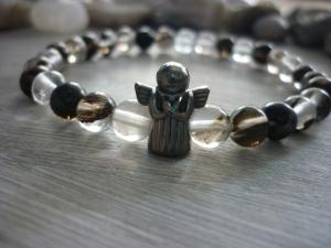 Armband 'Schutzengel'  mit Watermelonperlen grau / weiß / schwarz Glücksbringer - Handarbeit kaufen