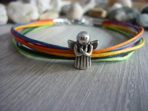 Handgearbeitetes buntes Armband mit Schutzengel zur Kommunion, Konfirmation, Firmung - Handarbeit kaufen