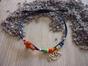 Handgearbeitetes buntes Armband mit Kreuz und Taube  zur Kommunion / Konfirmation - Handarbeit kaufen