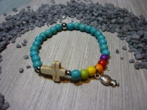 Buntes, handgemachtes Armband zur Kommunion / Konfirmation... - Handarbeit kaufen