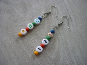 Handgemachte Ohrhänger ABC / 1,2 :-) zur Einschulung / für die Schultüte - Handarbeit kaufen
