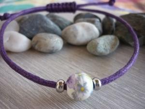 Schlichtes Armband mit Keramikperle /  Violett - Handarbeit kaufen