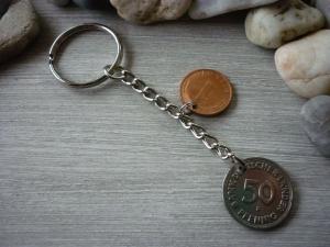 Schlüsselanhänger Vintage 1971 / mit Glückspfennig zum 50. Geburtstag  - Handarbeit kaufen