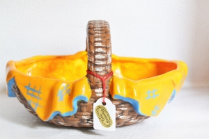 Keramikkorb braun-orange-blau - Handarbeit kaufen