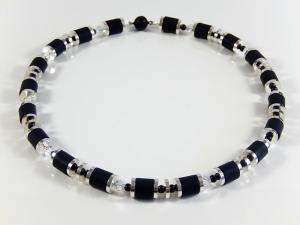 Schwarz silberfarbene Polariskette Halskette Damenhalsschmuck Geburtstagsgeschenk - Handarbeit kaufen