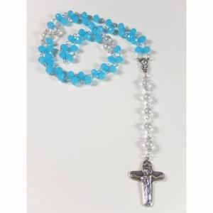 Rosenkranz hellblau weiß Kommunion lange Kette Gebetskette  - Handarbeit kaufen