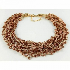 Mehrstrangkette rotbraun Häkelkette Statementkette Collier Perlenkette - Handarbeit kaufen