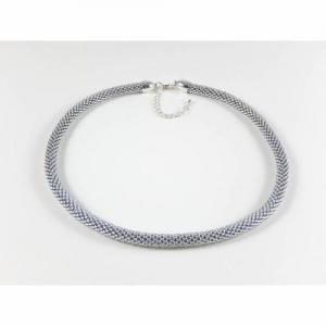 Silberfarbene Perlenkette Häkelkette Halskette  - Handarbeit kaufen