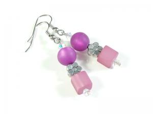 Verspielte rosa pinke Ohrhänger Ohrschmuck Ohrringe kleines Geschenk - Handarbeit kaufen