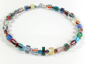 Opulente bunte Glasperlenkette Kette Halsschmuck Geschenk Damenhalskette - Handarbeit kaufen