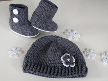 Baby-Winterset Mütze + Booties in der Farbe dunkelgrau/weiss