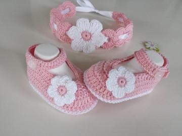 Baby-Sommerset / Taufset (Schühchen und Haarband)