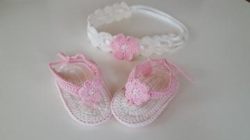 Baby-Sommerset / Taufset (FlipFlops und Haarband)
