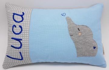 Kissen ♥Wunschnamen♥Elefant♥blau♥Geburt♥Taufe♥ 20cmx30cm