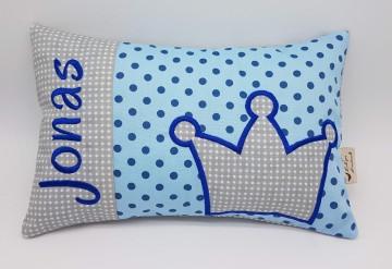 Kissen ♥Wunschnamen♥Krone♥blau♥Geburt♥Taufe♥ 20cmx30cm