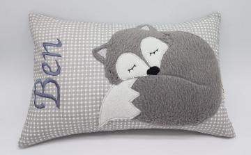 Kissen ♥Wunschnamen♥schlafender Fuchs♥grau♥Geburt♥Taufe♥ 20cmx30cm
