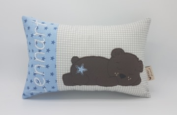 Kissen ♥Wunschnamen♥schlafender Bär♥blau♥Geburt♥Taufe♥ 20cmx30cm