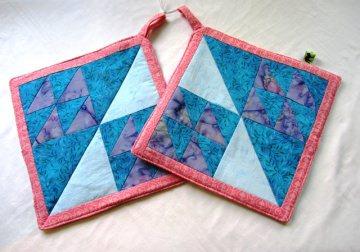 Topflappen Set / Patchworkblock:  Schwarm selbst genäht / handmade