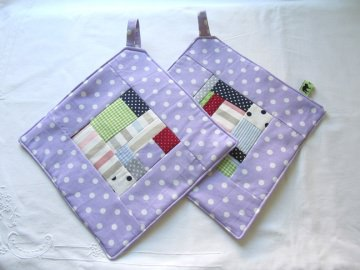 Topflappen - Set lila Quadrate, freie Patchworkarbeit, handmade