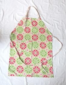 Küchenschürze in grün - rosa, selbstgenäht, Unikat