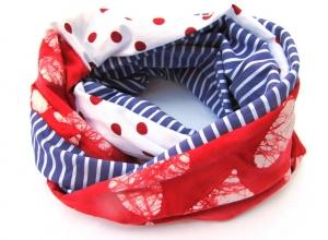 Schlauchschal, Loop,  rot mit weißen Herzen, selbstgenäht - Handarbeit kaufen