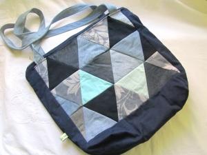 Jeanstasche, Umhängetasche Patchwork aus Dreiecken,selbstgenäht
