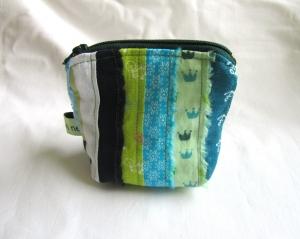 Mini - Universaltäschchen, Taschenorganizer, Schnullertasche, blaugrüne Webkanten, selbstgenäht (Kopie id: 100160369)