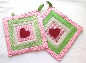 Topflappen - Set rosa - grün mit Herz,Landhausstil, handmade,