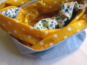 Schlauchschal, Loop / Rundschal gelb-blau, selbstgenäht