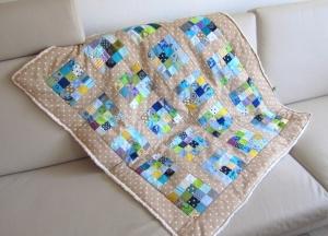 Babydecke /Kuscheldecke  mit vielen Quadraten/ blau, Patchwork, selbstgenäht  - Handarbeit kaufen