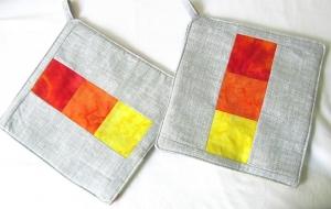 Topflappen, modern Design, grau - gelb /orange / rot, Patchwork, selbst genäht,