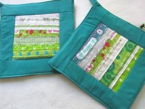 Topflappen, Set, grün mit Webkanten, Patchwork, handmade,  - Handarbeit kaufen