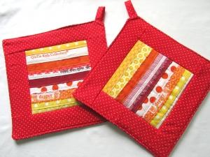 Topflappen, Set, rot-orange-gelb mit Webkanten, Patchwork, handmade,  - Handarbeit kaufen
