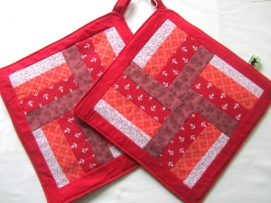 Topflappen, Set,rote Streifen, Patchwork, handmade  - Handarbeit kaufen