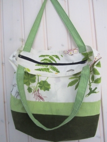 Einkaufstasche, Umhängetasche mit Reißverschluss, Fauna, handemade,