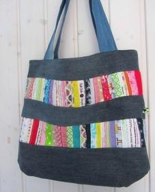 bunte Jeanstasche mit Webkanten, Umhängetasche, Schultertasche, Patchwork modern,