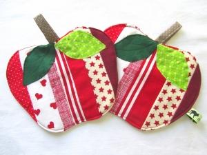 Topflappen Apfel, Set, Patchwork, Äpfel, handemade,