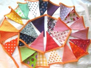 Regenbogen- Wimpelkette 4,00 m, 28 Wimpel, handmade, Girlande,    - Handarbeit kaufen
